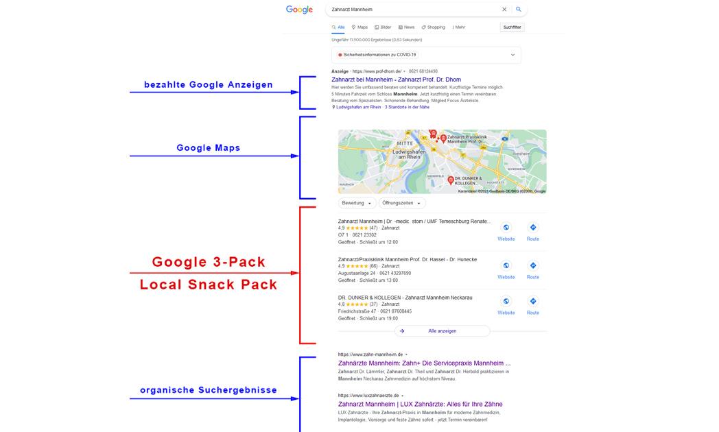 Ansicht: Google Anzeigen - Maps - Goggle 3 Pack & Local Snack-Pack sowie die organische Suchergebnisse