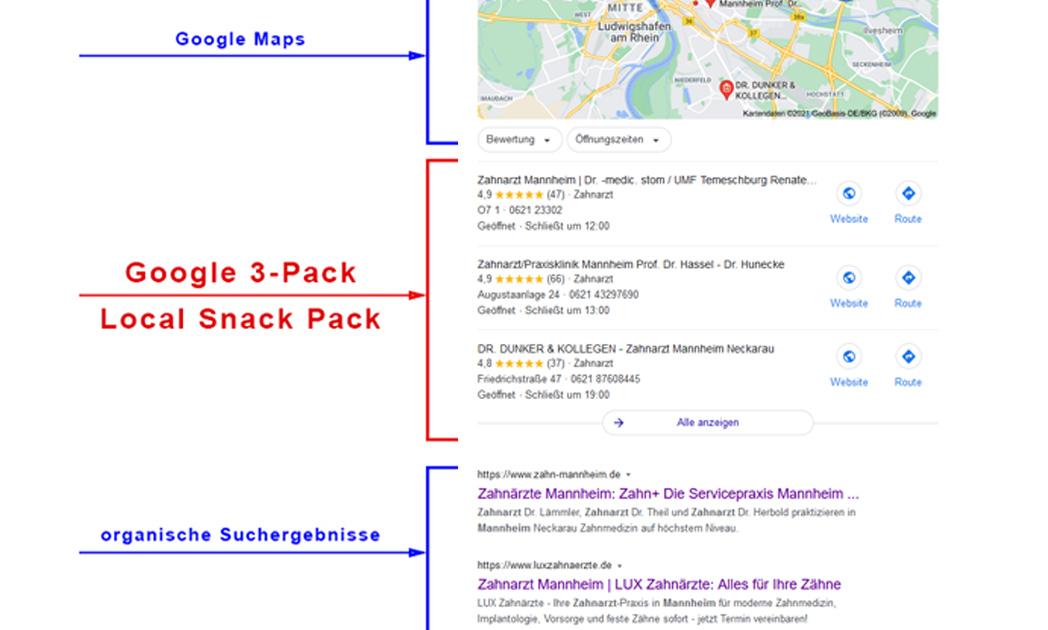 Das Google3-Pack und Local Snack Pack